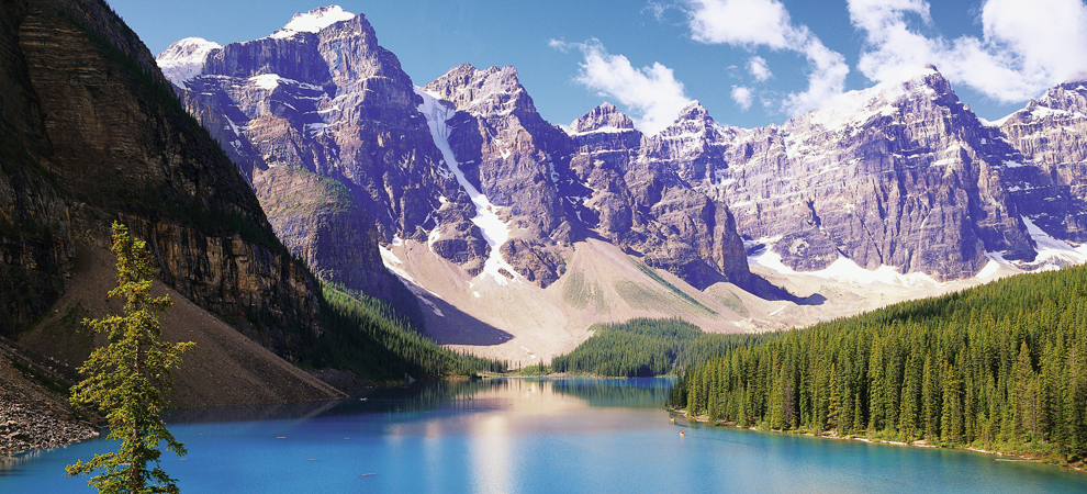 Mountains Looming over Blue Lake