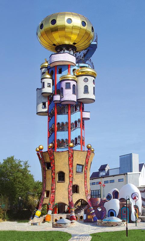 The Hundertwasser tower, designed by Austrian Friedensreich Hundertwasser, was built in Abensberg, south Germany.