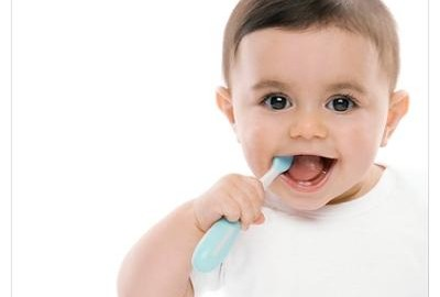 Baby boy with toothbrush