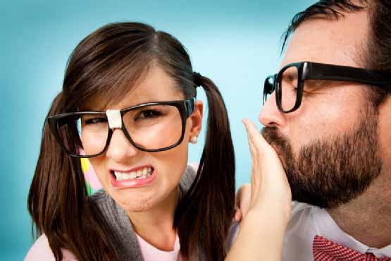 Bad breath halitosis girl and boy