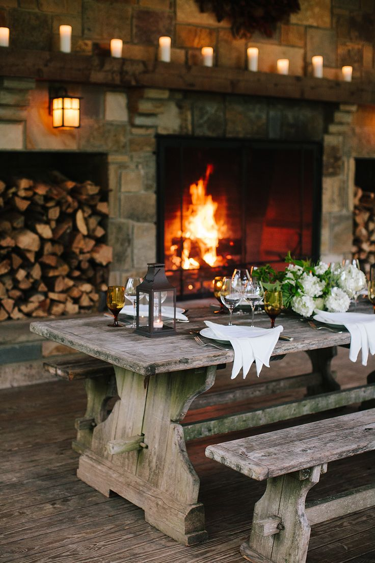 Blackberries farm dining room fireplace