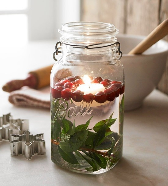 Candles for christmas in jar