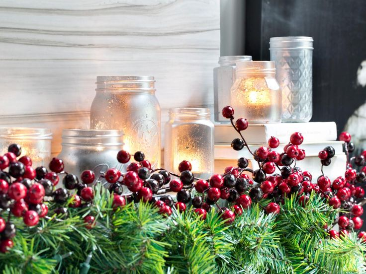 Candles for christmas with berries