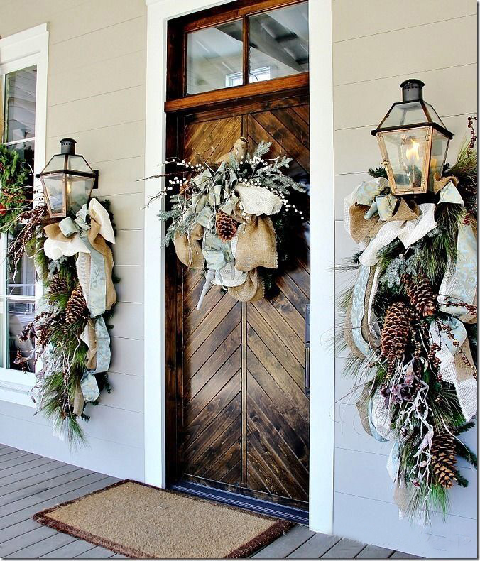 Christmas Door Decoration with Brown Ribbons