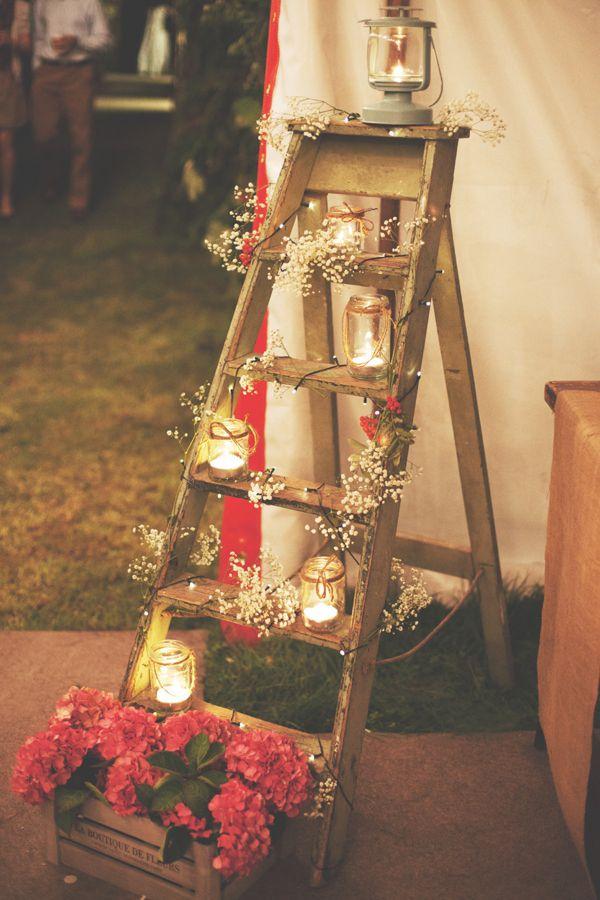 Christmas Ladder with christmas lantern