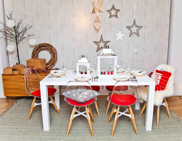 Christmas Table decoration with white lantern