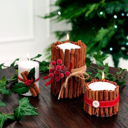 Christmas cinnamon Handmade Candles with red ribbons