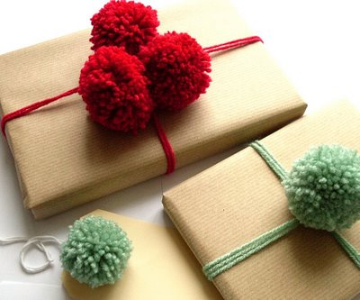 Christmas gift box with pom pom