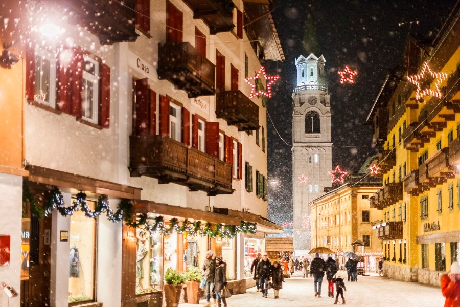 Cortina d'Ampezzo main street during christmas