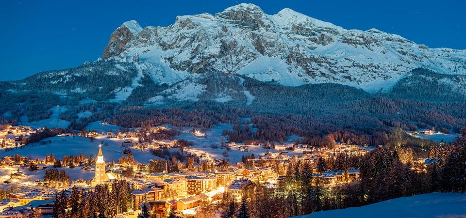 Cortina d'Ampezzo sky view Italy