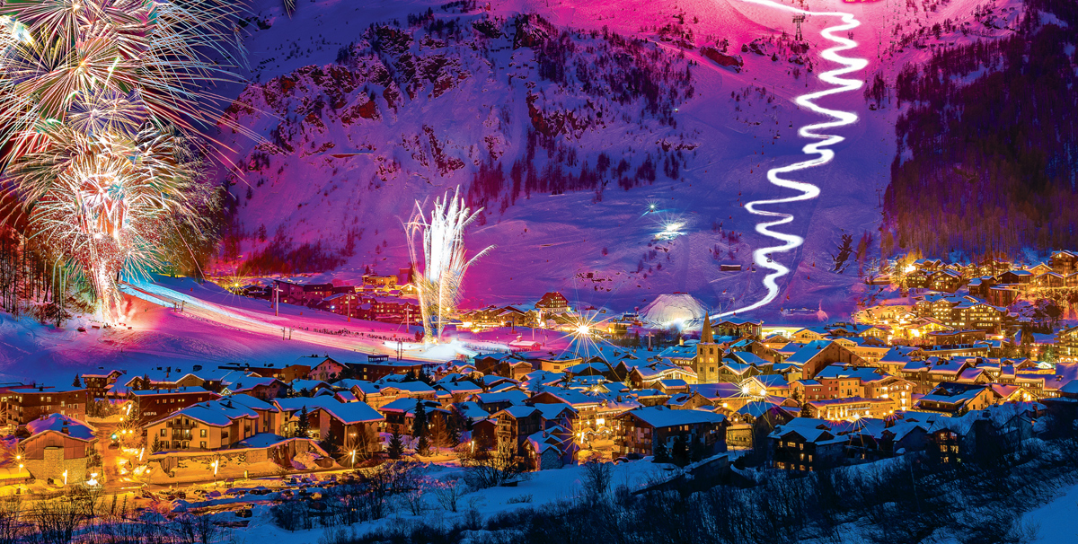 DIzer Val resort fireworks and ski slopes in Franc during night