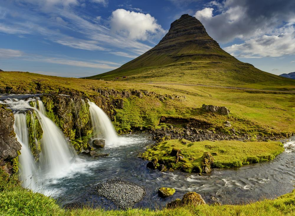 Iceland green hill waterfall landscape
