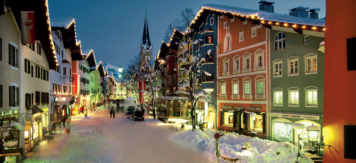 Kitzbuhel main street during christmas time  Austria