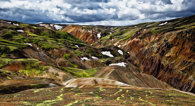 Landsace of hills and water Iceland