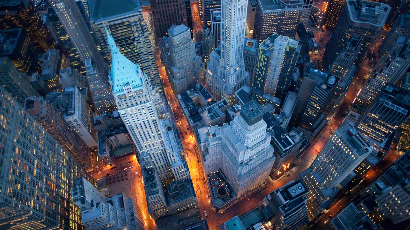 New york city by air night lights