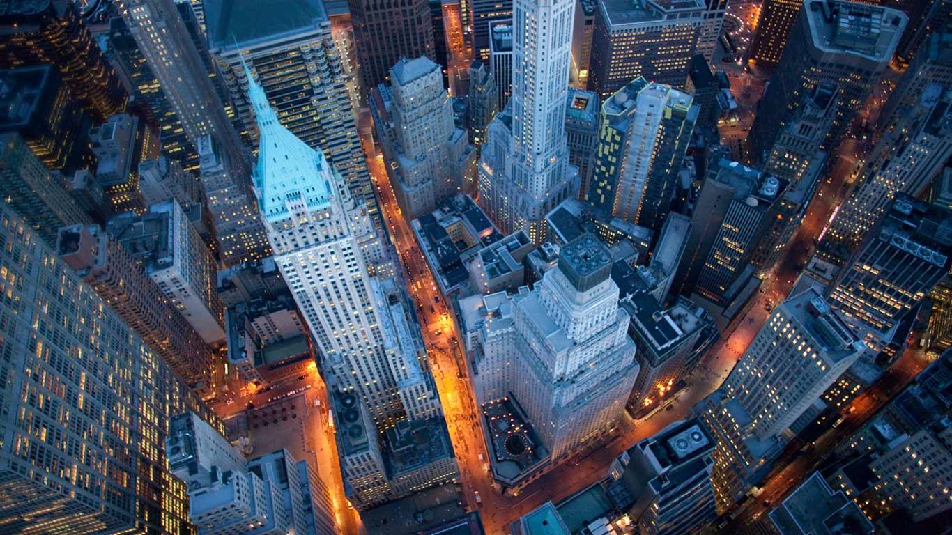 New york city by air night lights