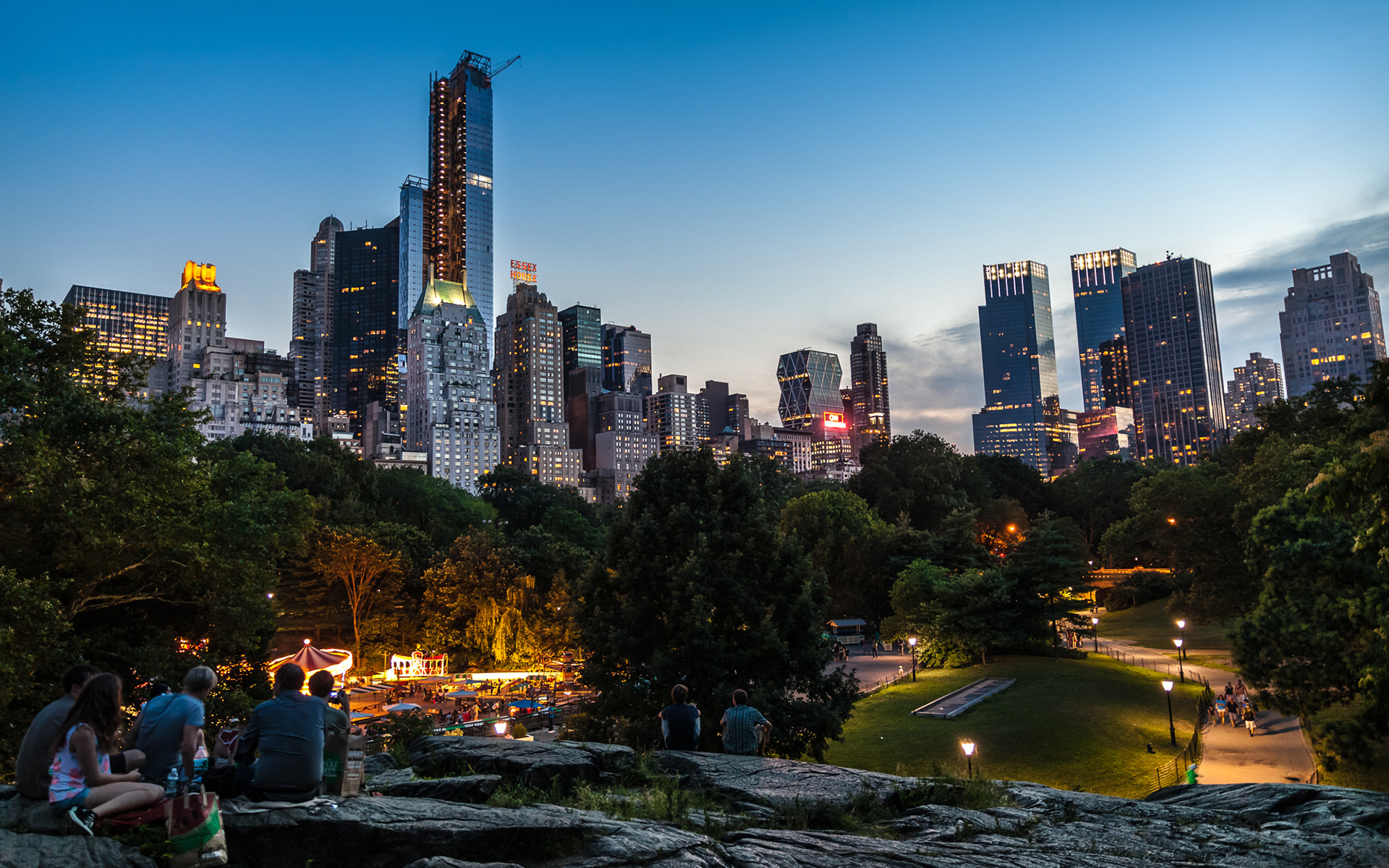 New york city lights in central park