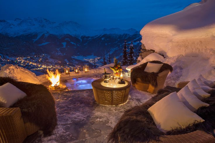 Verbier Switzerland luxory outside bonfire