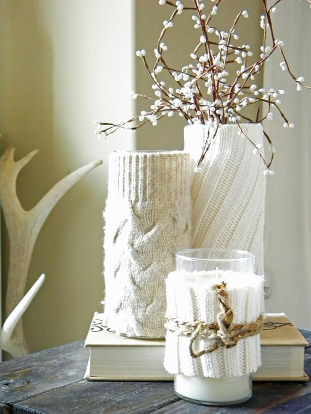 White christmas candles with socks