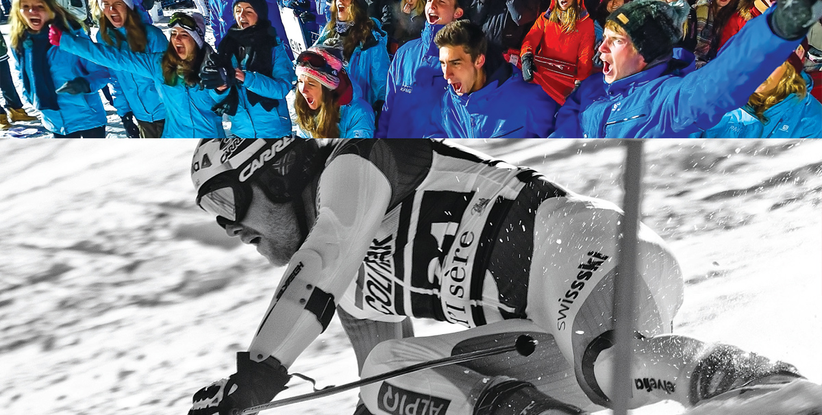 ski athlete and clapping audience