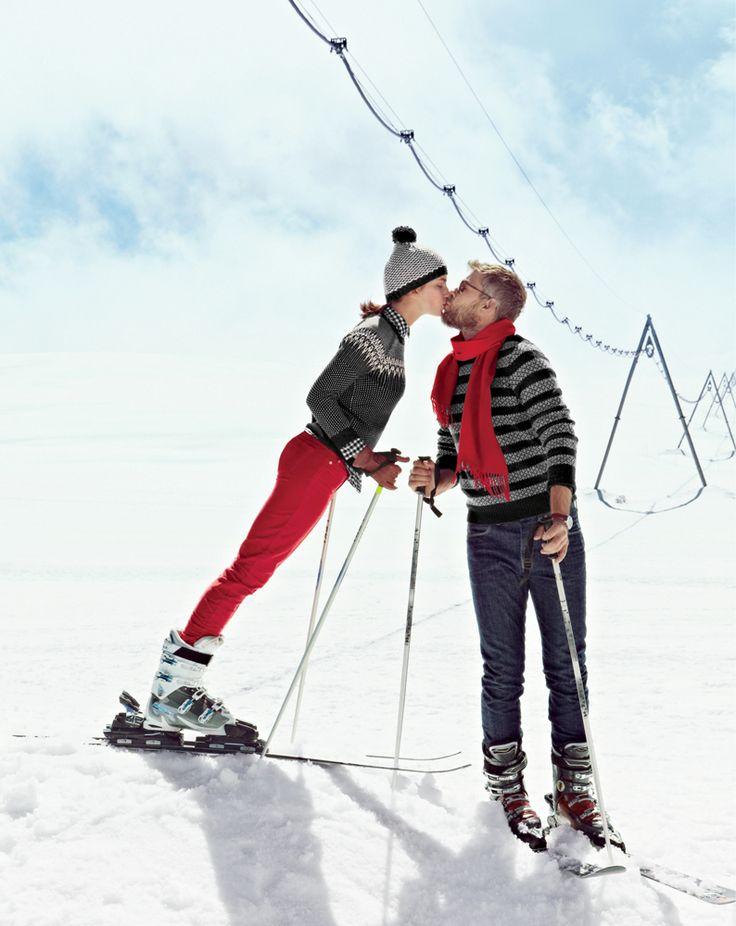 ski couple kissing romantic