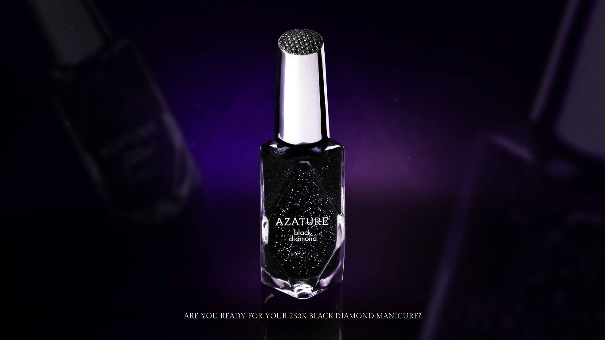 Azature Black Nail Polish with Diamonds