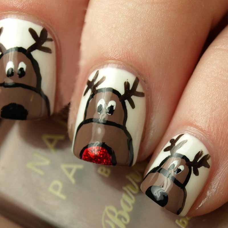 Deer Nail Polish Art Christmas