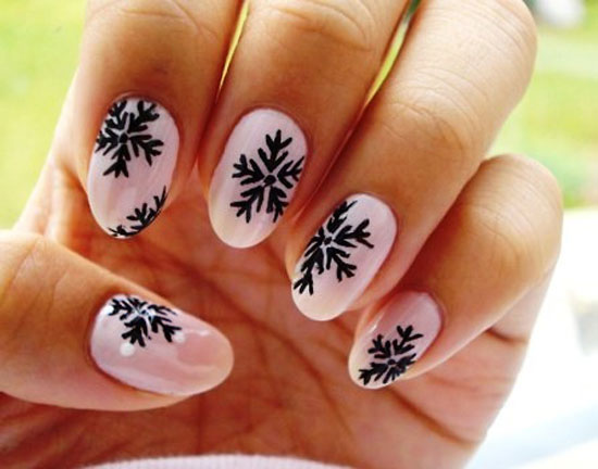 Easy Winter Snowflake Nail Art Ideas Designs