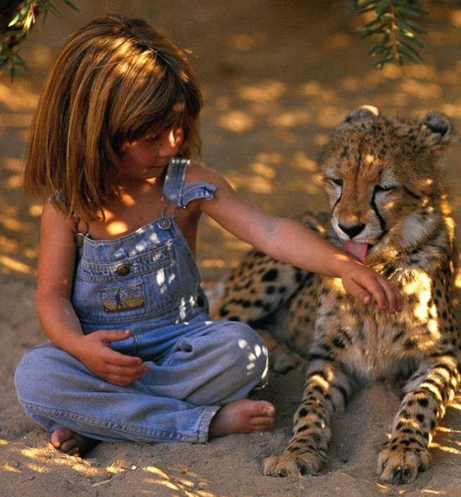 Tippi Degre with leopard