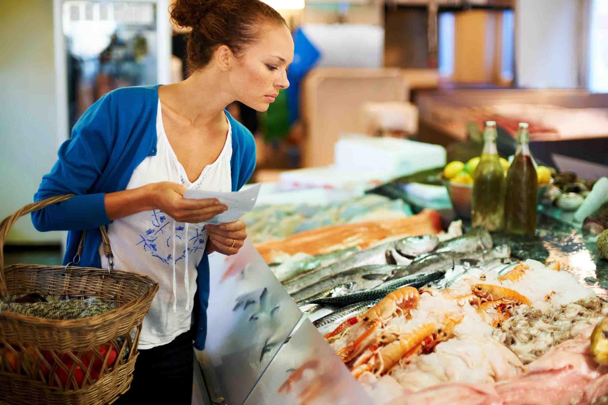Woman Fish Shopping