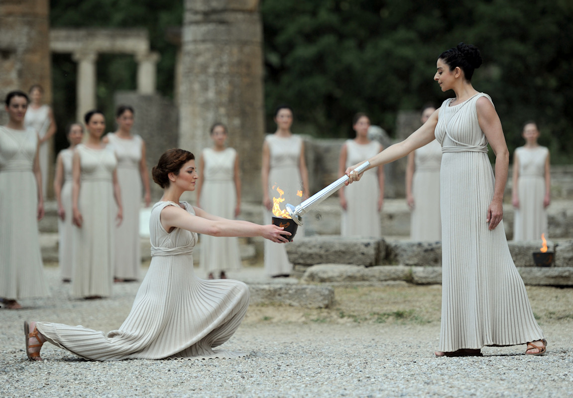ancient fire of Olympia Greece