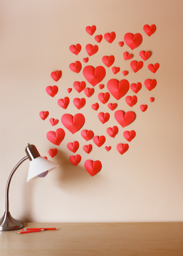st Valentine's day idea heart paper