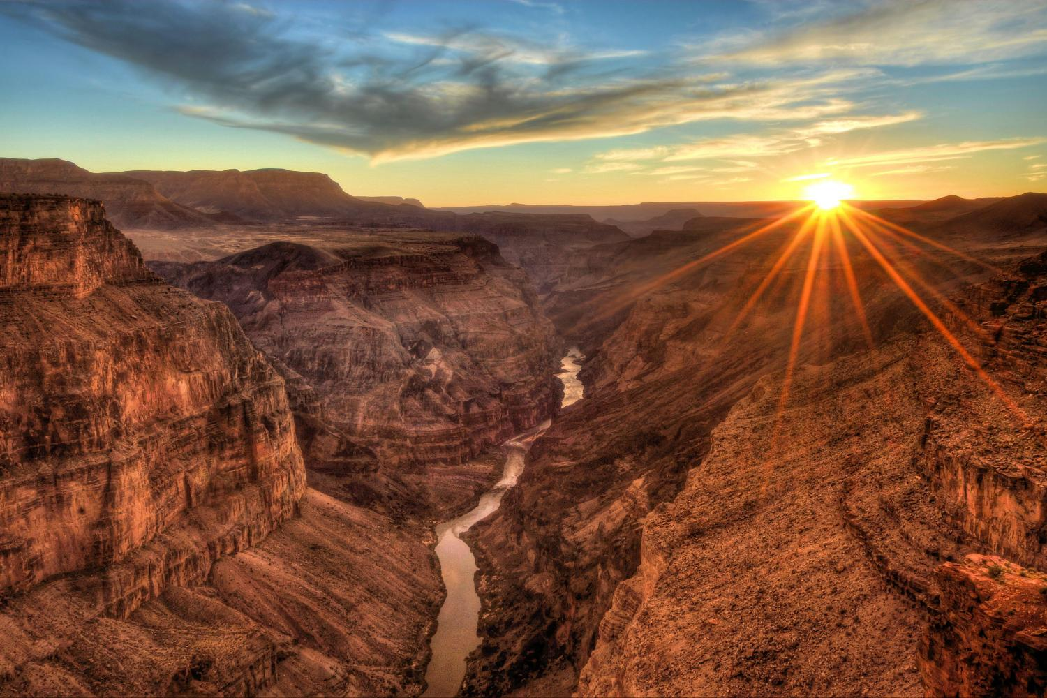Grand Canyon in Arizona sunset rocks