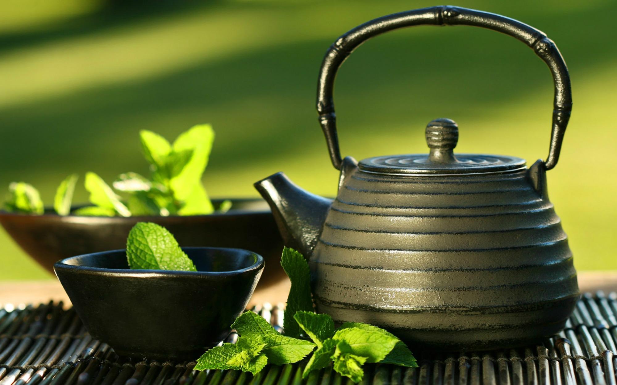 Green tea on a table