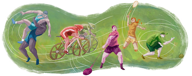 Opening of Glasgow Commonwealth Games google doodle