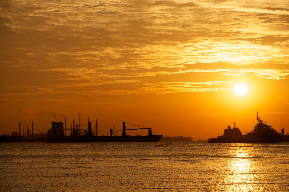 Sentosa Island sunset with a ship