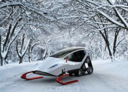 Impressive winter vehicle represents the ideal combination of excellent suspension, ATV features an enclosed cab driver.