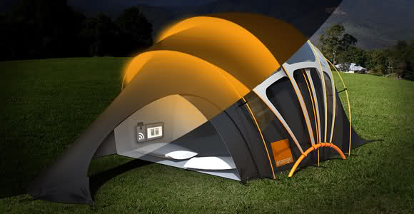 Solar power designed tent