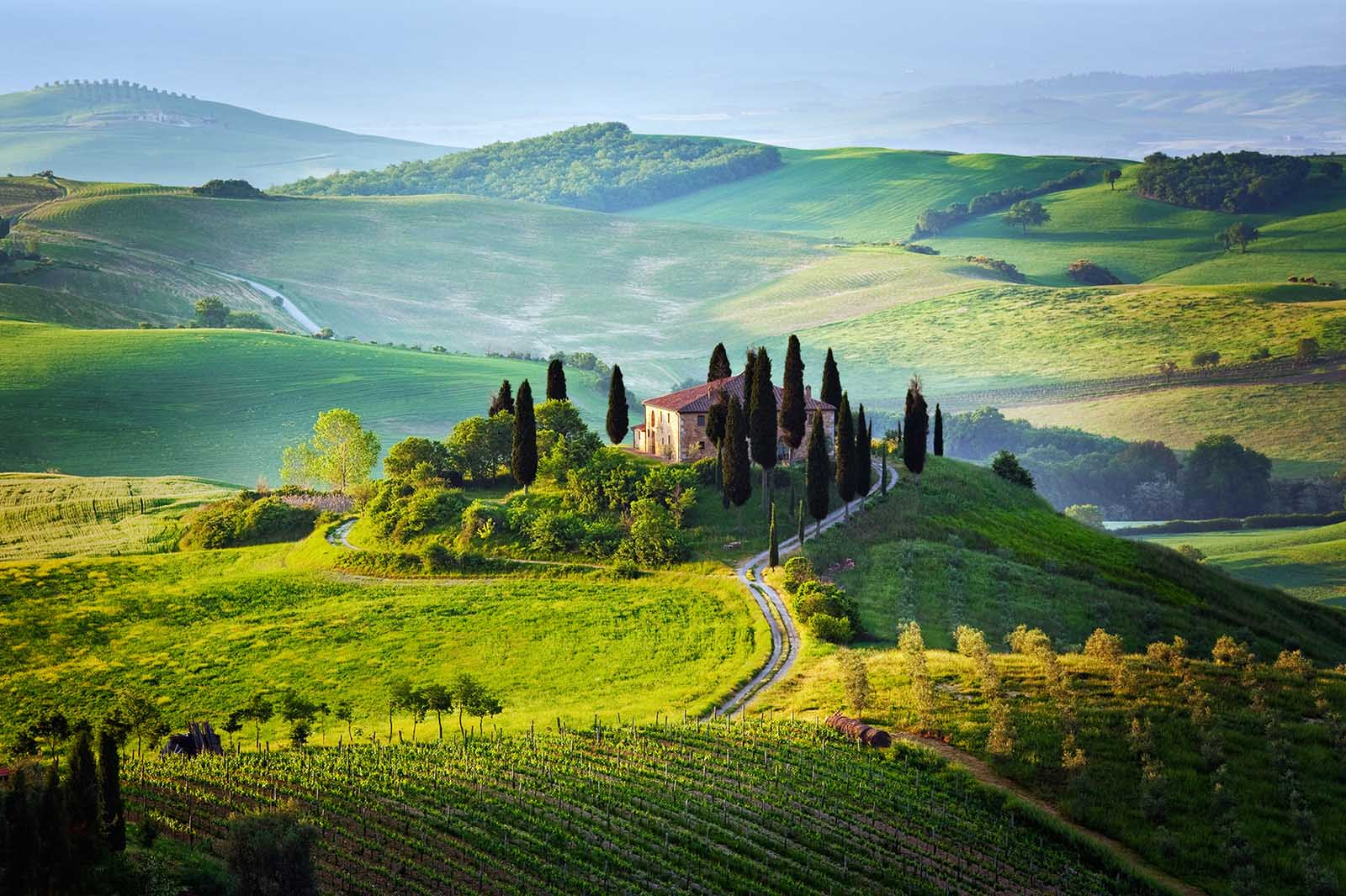 Tuscany Italy Green landscape with house