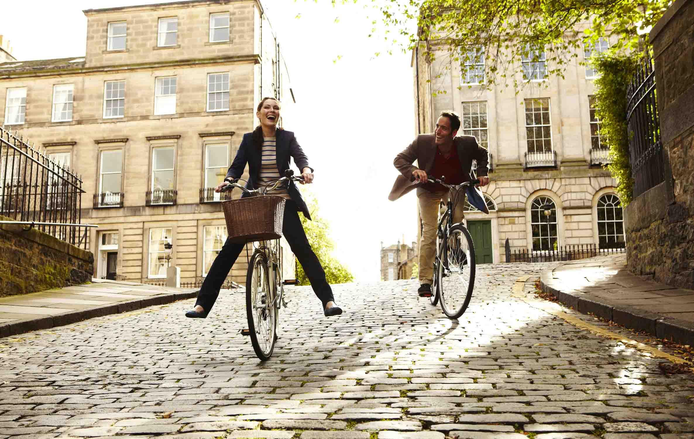 couple city Cycling