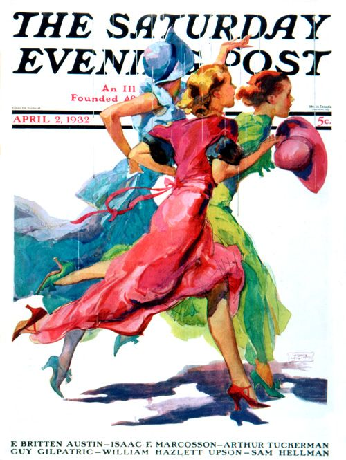 13 Ladies Running From Rain  The saturday evening post vintage magazine cover 1932