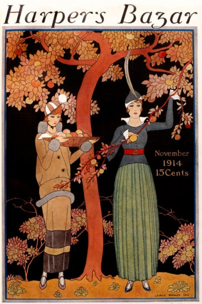 2 Harpers Bazar magazine cover George Barbier, November 1914