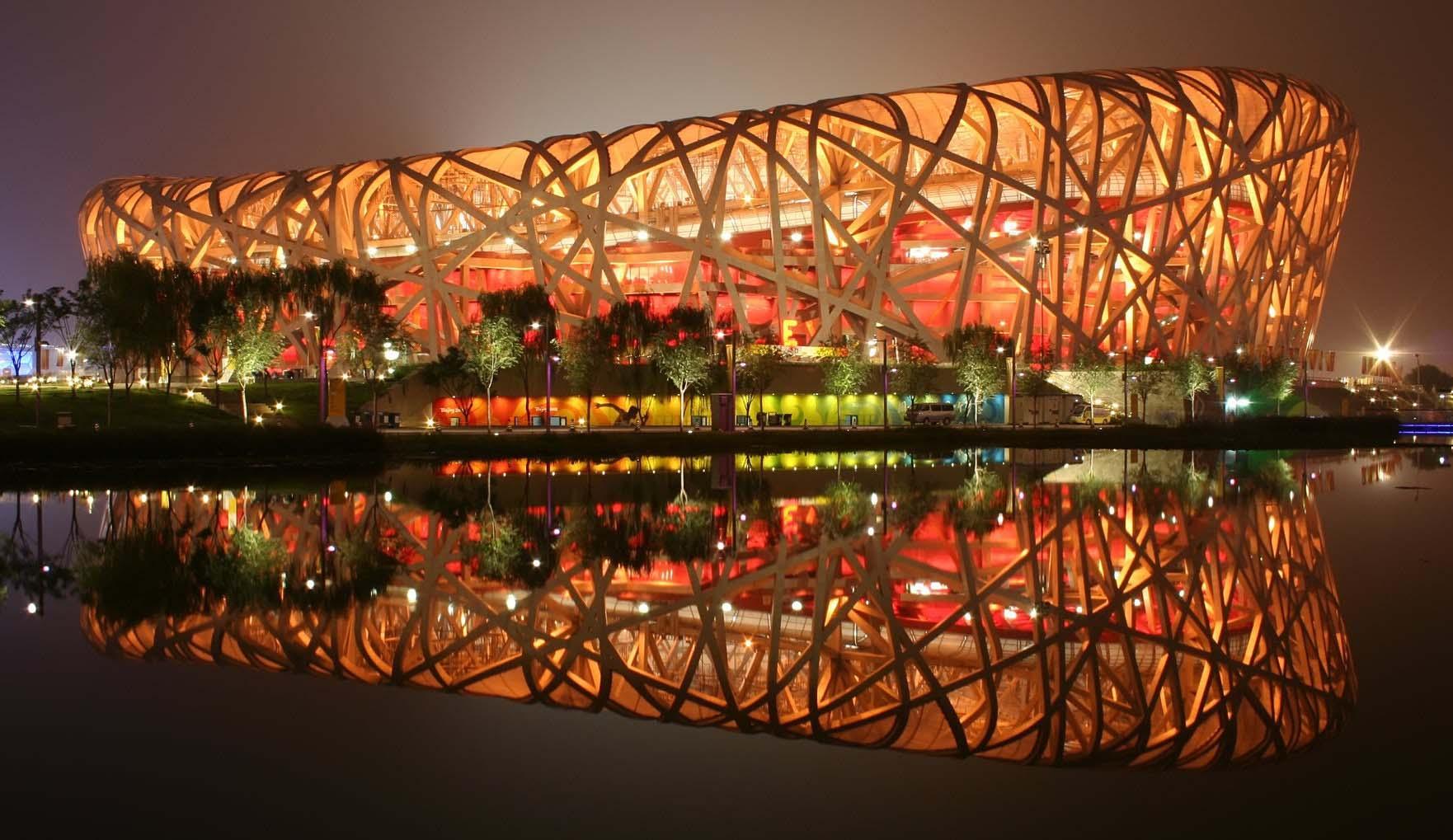 Beijing national stadium Bird's Nest during night