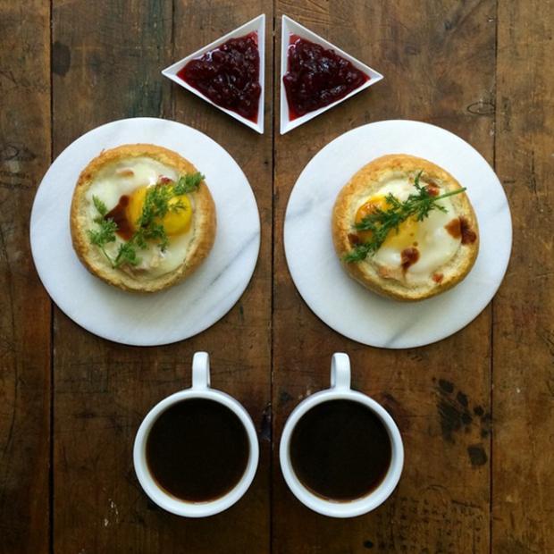 black coffee fried eggs and jam