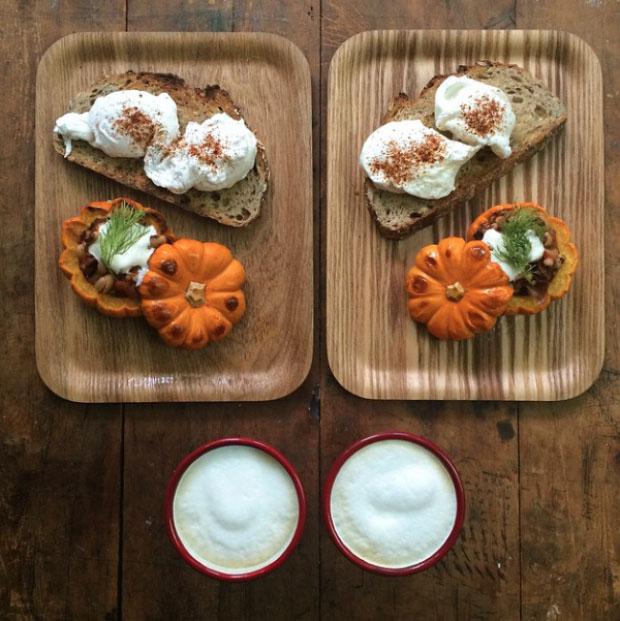 Breakfast cappuccino bread cheese pumpkin