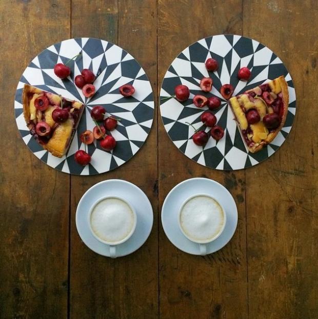 coffee and cherry pie