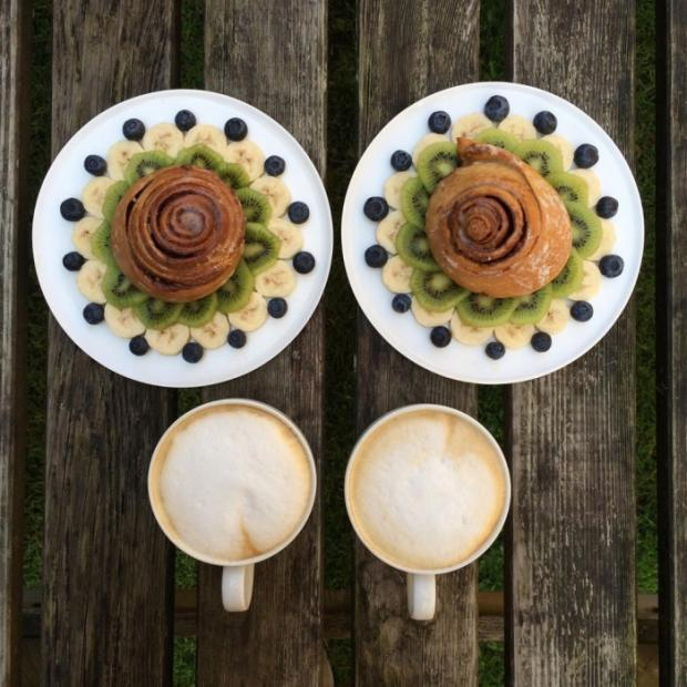 Breakfast coffee banana kiwi and croissant