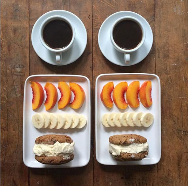 coffee bread peach banana