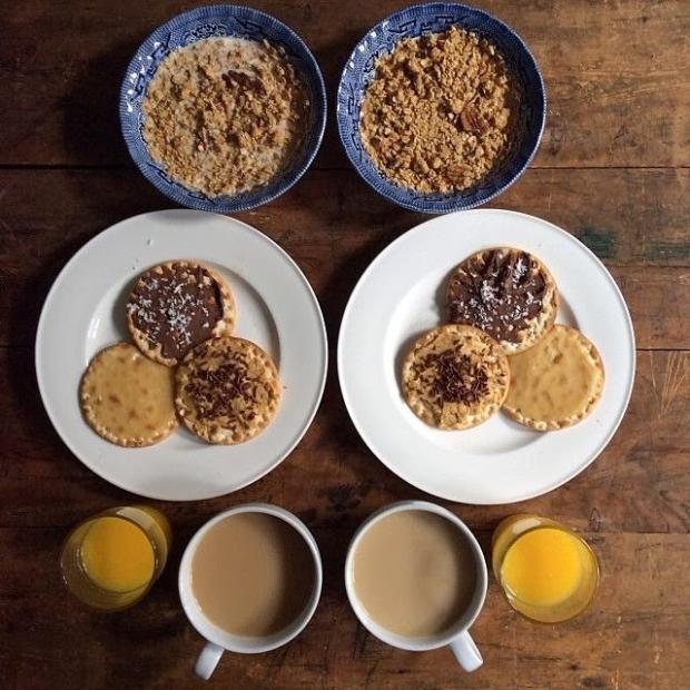 cookies with coffee orange juice and musli