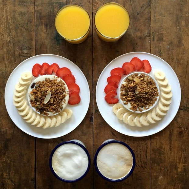 orange juice coffee nuts strawberries and bananas